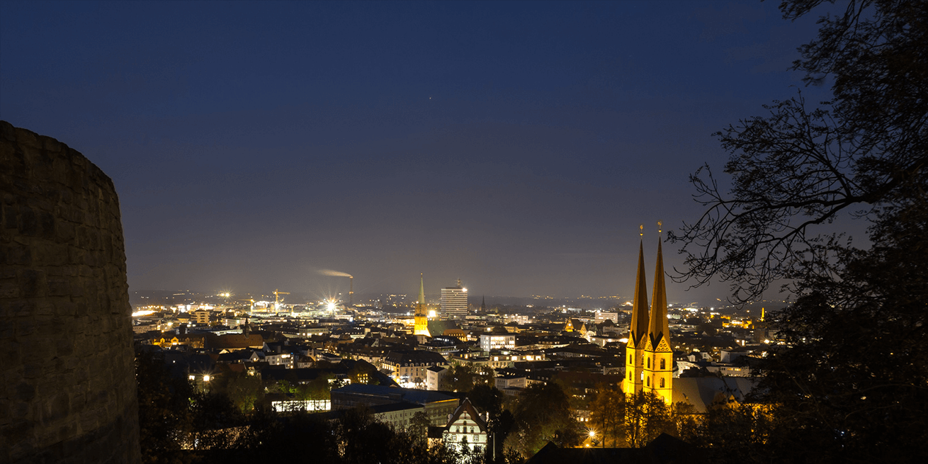 Bielefeld Germany cityscape in the evening panorama